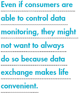 Even if consumers are able to control data monitoring, they might not want to always do so because data exchange makes life convenient.
