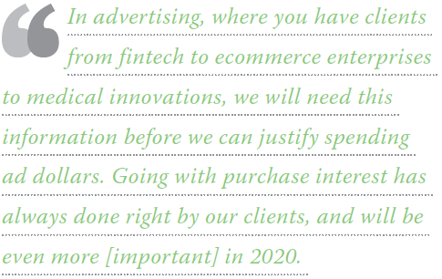 In advertising, where you have clients from fintech to ecommerce enterprises to medical innovations, we will need this information before we can justify spending ad dollars. Going with purchase interest has always done right by our clients, and will be even more [important] in 2020.