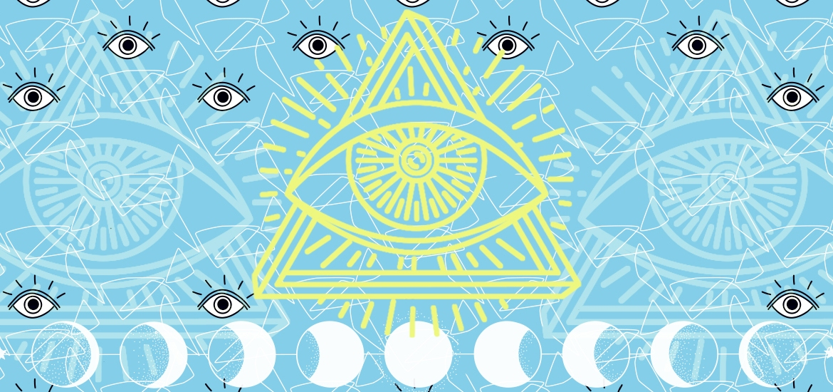 illustration of yellow pyramid against blue background, eye imagery throughout