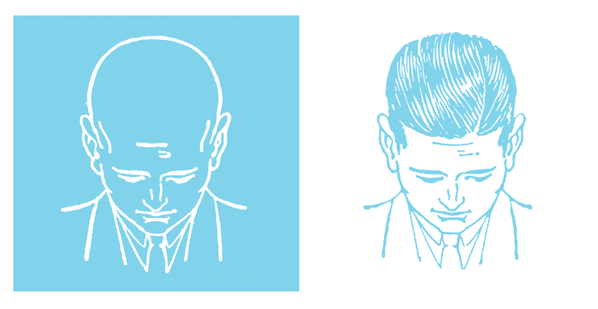 side by side drawings of man looking down