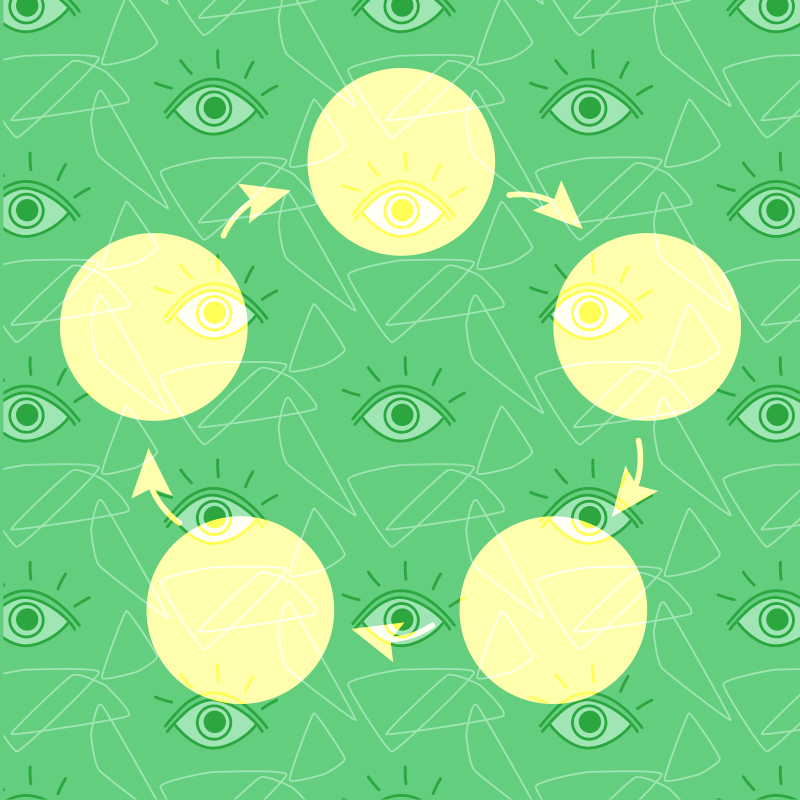 cycling yellow orbs against green background
