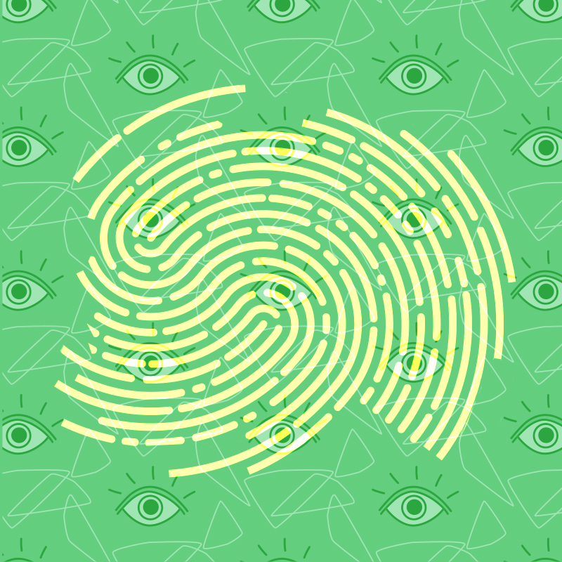 yellow thumbprint on green background