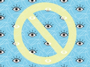 yellow 'no' sign against blue background with repeating eyeballs