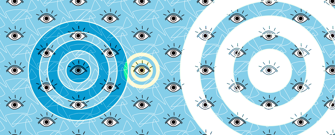 illustration of pattern of eyeballs with two large bullseye targets
