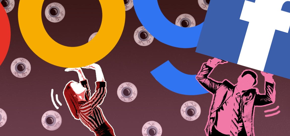 illustration of man and woman struggling to hold google and facebook logos overhead
