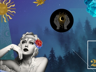 shutterstock creative trends report header image with 1920s flapper girl amid space imagery