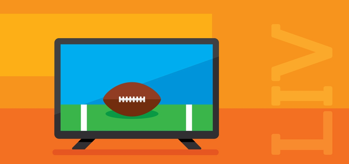 Super Bowl LIV illustration with football game on television
