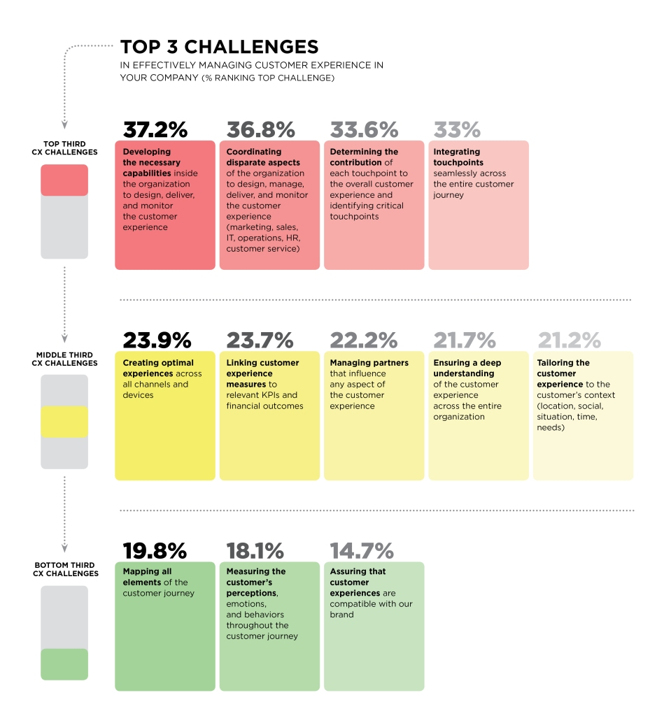 chart indicating top three challenges faced by marketing leaders in managing customer experience
