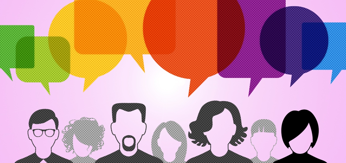 illustration of people with multicolored speech bubbles above them