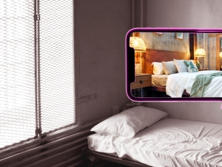 illustration of hand holding up phone displaying gorgeous hotel room, despite drab room behind it