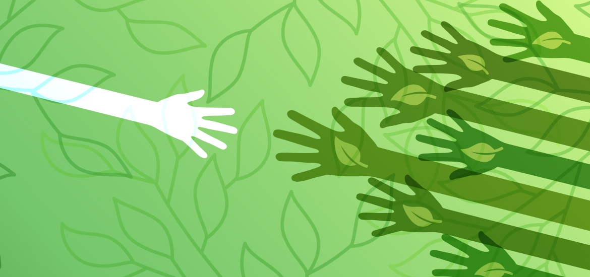 illustration of white hand outstretched toward dark green hands