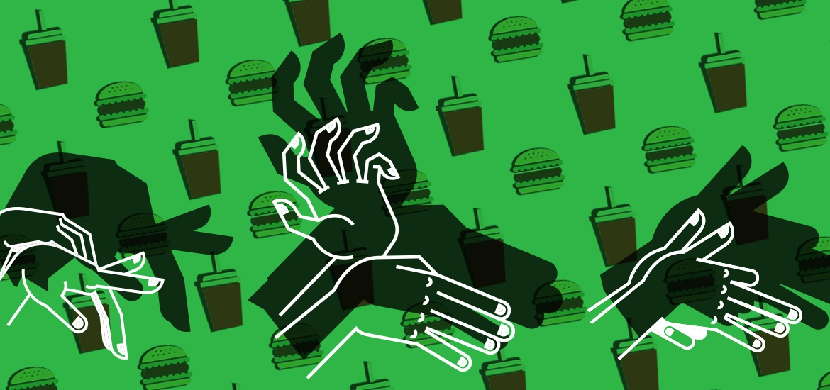 illustration of hands making shadow puppets against background of pattern of burgers and shakes