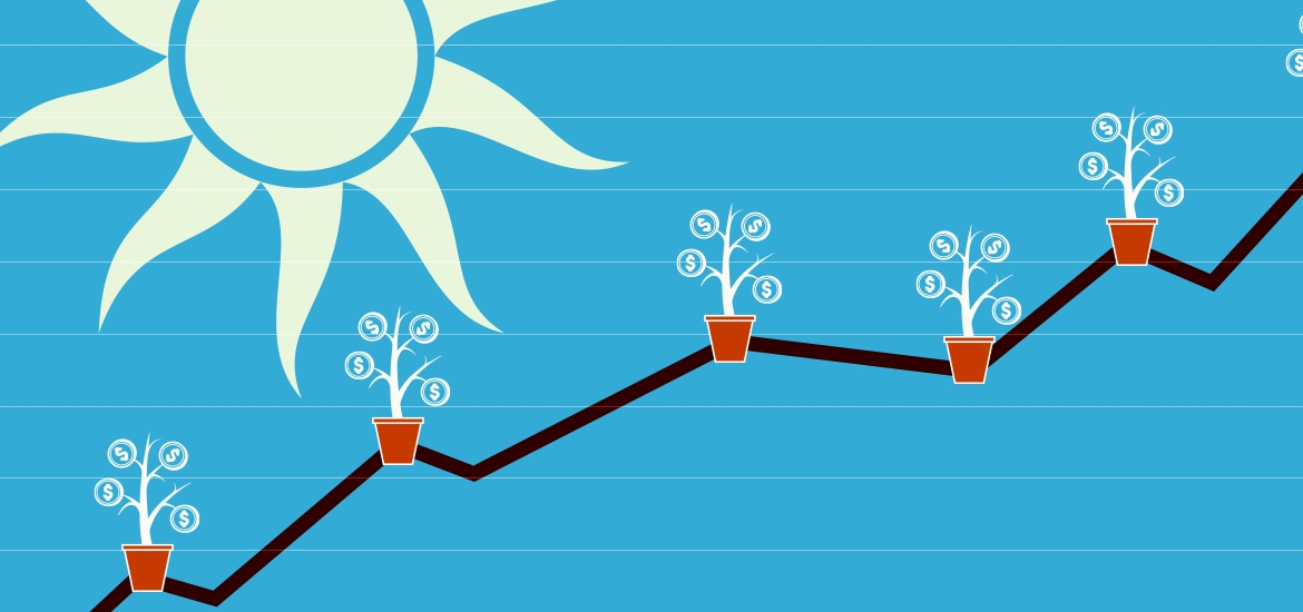 illustration of line graph with sun and plants on each axis point