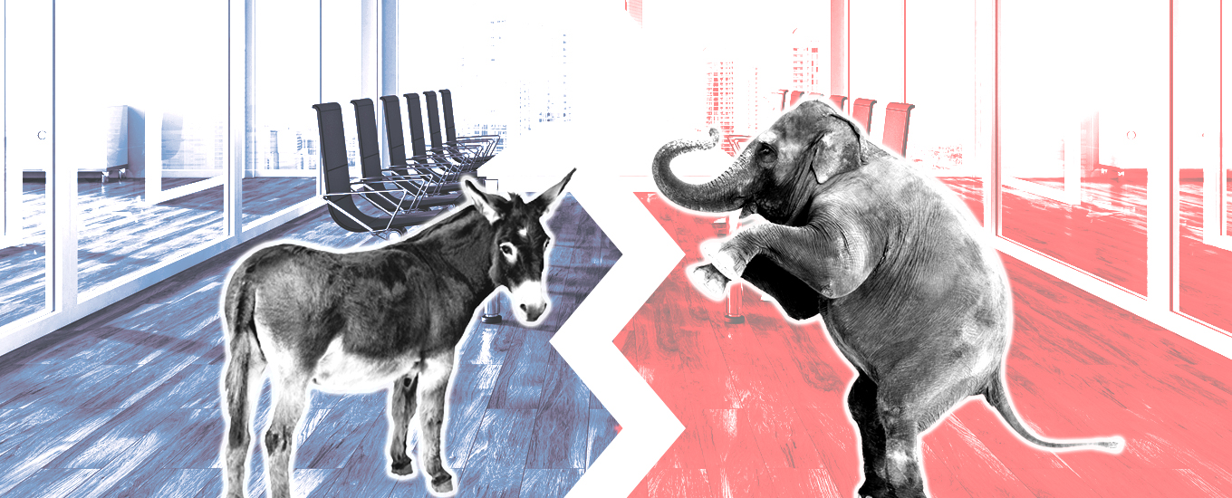 illustration of donkey and elephant against blue and red backgrounds in office