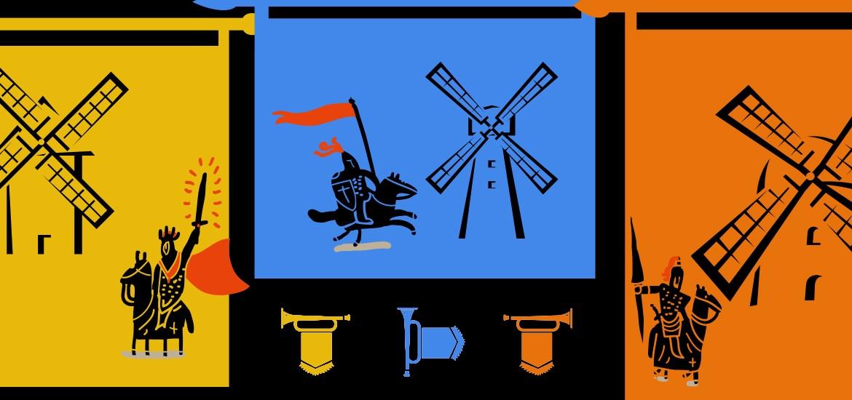 illustration of knights next to windmills