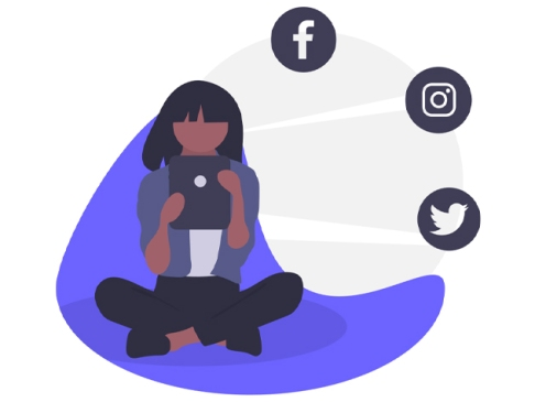 illustration of seated girl on phone with social media logos