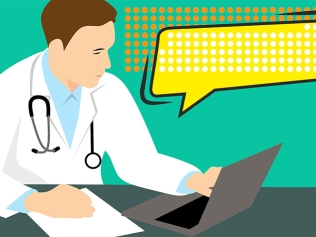 illustration of male doctor communicating with patient on laptop