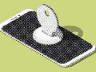 illustration of smart phone with key inserted in center