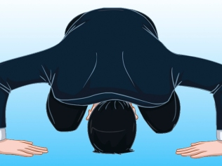 illustration of man bowing his head to ground in apology