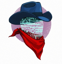 cowboy with digital face, red bandana and hat