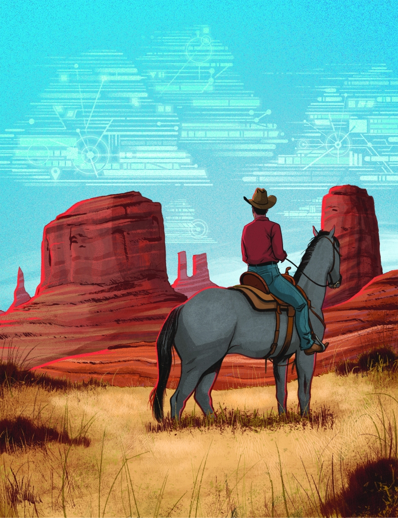 cowboy on horseback overlooking red rocks with data shapes in blue sky