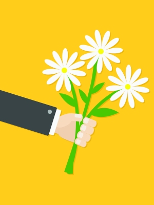 illustration of outstretched arm holding bouquet of flowers