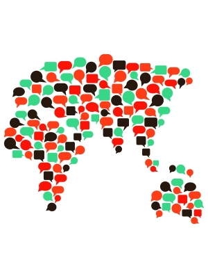 illustration of Africa, Asia and Australia made up of speech bubbles
