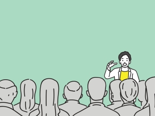 illustration of person speaking to audience with green background