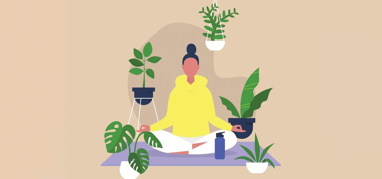 illustration of meditating woman