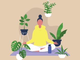 illustration of meditating woman