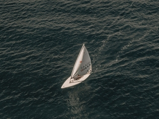 overhead photo of sailboat