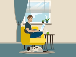 illustration of seated man with laptop next to dog laying on floor