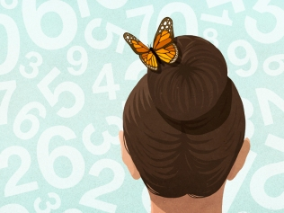 illustration of back of woman's head with butterfly in hair