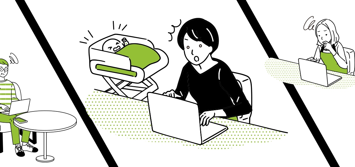 illustration of frustrated people at laptops