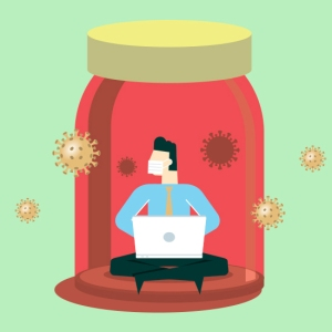 man wearing face mask on laptop in jar surrounded by virus