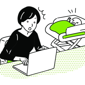 cartoon of frustrated woman on laptop while baby cries in stroller next to her