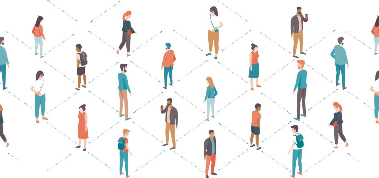 illustration of people spaced apart
