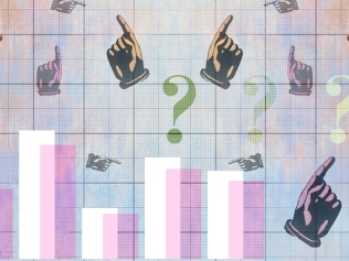 illustration of bar graph with fingers pointing in different directions surrounded by question marks