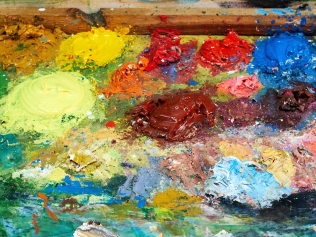 multicolored oil painting