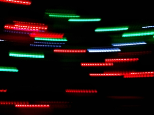 streaks of red and green digital lights