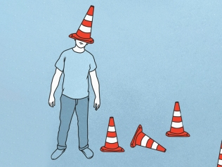 illustration of man with traffic cone on head
