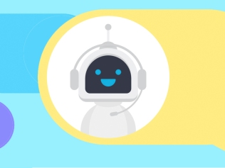 illustration of robot in multicolored message bubbles