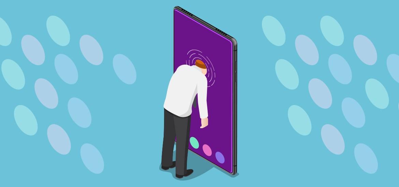 illustration of man sticking head into smart phone