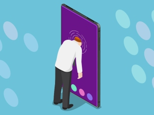 illustration of man sticking head into smart phone