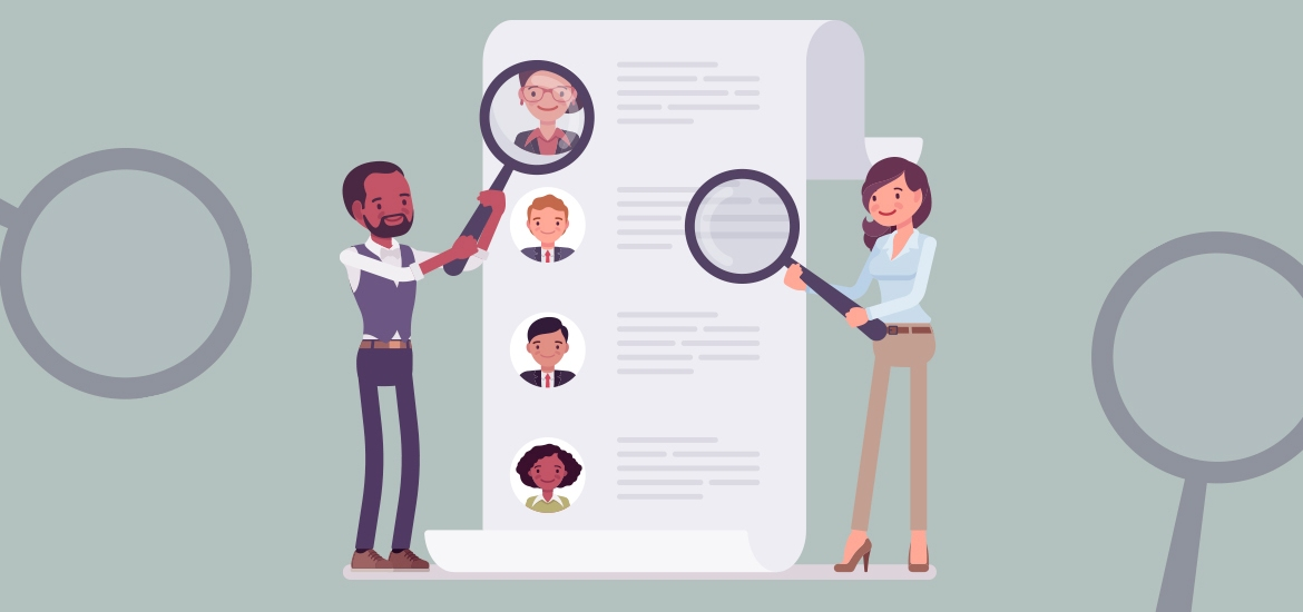 illustration of recruiters searching for candidates with magnifying glasses