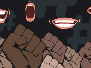 illustration of black fists raised with speaking mouths