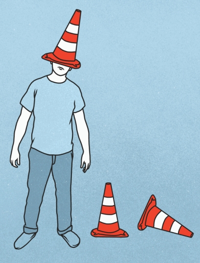 illustration of man wearing traffic cone on his head