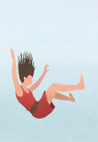 illustration of falling woman