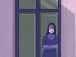 anxious masked woman in window