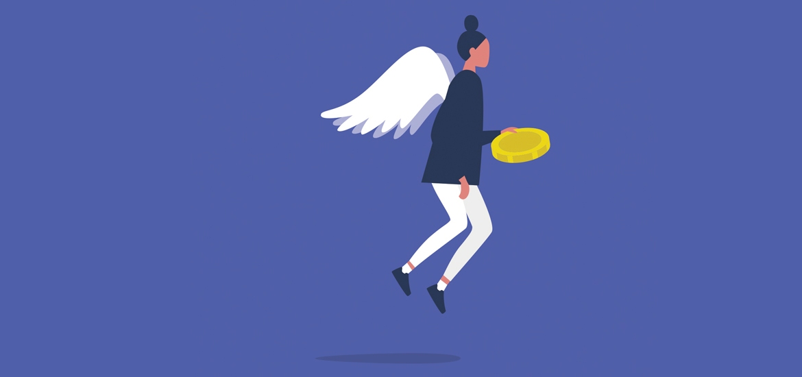 flying angel holding gold coin